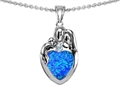 Original Star K™ Loving Mother And Father With Child Family Pendant With Heart Shape 8mm Created Blue Opal