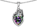 Original Star K™ Loving Mother And Father With Child Family Pendant With Heart Shape 8mm Mystic Rainbow Topaz