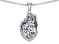Original Star K™ Loving Mother And Father With Child Family Pendant With Heart Shape 8mm Genuine White Topaz