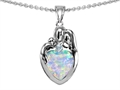 Original Star K™ Loving Mother And Father With Child Family Pendant With Heart Shape 8mm Created Opal