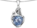 Original Star K™ Large Loving Mother With Child Pendant With 12mm Heart Shape Simulated Aquamarine