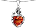 Original Star K™ Large Loving Mother With Child Pendant With 12mm Heart Shape Simulated Orange Mexican Fire Opal