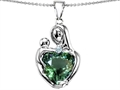 Original Star K™ Large Loving Mother With Child Pendant With 12mm Heart Shape Simulated Green Tourmaline
