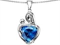 Original Star K™ Large Loving Mother With Child Pendant With 12mm Heart Shape Simulated Blue Topaz