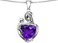 Original Star K™ Large Loving Mother With Child Pendant With 12mm Heart Shape Simulated Amethyst