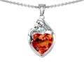 Original Star K™ Loving Mother With Child Family Pendant With 8mm Heart Shape Simulated Orange Mexican Fire Opal