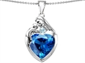 Original Star K™ Large Loving Mother With Child Family Pendant With 12mm Heart Simulated Blue Topaz