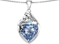 Original Star K™ Large Loving Mother With Child Family Pendant With 12mm Heart Simulated Aquamarine