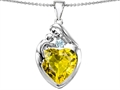 Original Star K™ Large Loving Mother With Child Family Pendant With 12mm Heart Simulated Yellow Sapphire