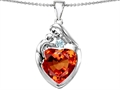 Original Star K™ Large Loving Mother With Child Family Pendant With 12mm Heart Simulated Orange Mexican Fire Opal