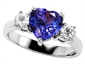 Original Star K 8mm Heart Shape Simulated Tanzanite Engagement Ring