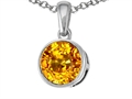 Tommaso Design 7mm Round Genuine Citrine Pendant