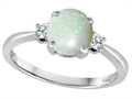 Tommaso Design™ 7mm Round Genuine Opal Classic 3 stone Engagement Ring