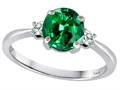 Tommaso Design™ 7mm Round Simulated Emerald and Diamond Classic 3 stone Engagement Ring