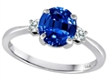Tommaso Design™ 7mm Round Created Sapphire and Diamond Classic 3 stone Engagement Ring