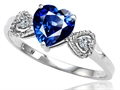 Tommaso Design™ Created Sapphire and Diamond Heart Shape Engagement Promise Ring