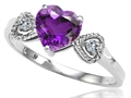 Tommaso Design™ Genuine Amethyst and Diamond Heart Shape Engagement Promise Ring