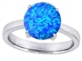 Original Star K™ Large Solitaire Big Stone Ring with 10mm Round Simulated Blue Opal