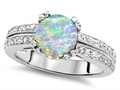 Original Star K™ Round 7mm Simulated Opal Engagement Wedding Ring