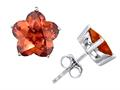Original Star K™ Fancy Flower Shape Star Earring Studs with Simulated Orange Mexican Fire Opal
