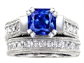 Original Star K™ 7mm Square Cut Created Sapphire Engagement Wedding Set