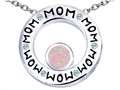 Original Star K™ MOM Circle Mothers Pendant with Round 7mm Pink Simulated Opal