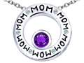 Original Star K™ MOM Circle Mothers Pendant with Round 7mm Simulated Amethyst