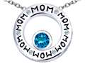Original Star K™ MOM Circle Mothers Pendant with Round 7mm Simulated Blue Topaz