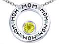 Original Star K™ MOM Circle Mothers Pendant with Round 7mm Simulated Citrine