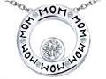 Original Star K™ MOM Circle Mothers Pendant with Round 7mm Simulated White Topaz