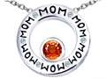 Original Star K™ MOM Circle Mothers Pendant with Round 7mm Simulated Orange Mexican Fire Opal
