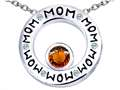 Original Star K™ MOM Circle Mothers Pendant with Round 7mm Simulated Garnet