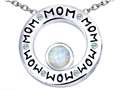 Original Star K™ MOM Circle Mothers Pendant with Round 7mm Created Opal