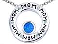 Original Star K™ MOM Circle Mothers Pendant with Round 7mm Created Blue Opal