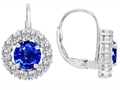 Original Star K™ Lever Back Dangling Earrings With 6mm Round Created Sapphire