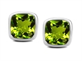 Original Star K™ 8mm Cushion Cut Simulated Peridot Earrings Studs