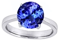 Original Star K™ Large Solitaire Big Stone Ring 10mm Round Simulated Tanzanite