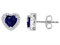 Original Star K™ Heart Shape Created Sapphire Halo Earring Studs