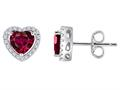 Original Star K™ Heart Shape Created Ruby Halo Earring Studs