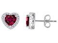 Original Star K™ Heart Shape Created Ruby Halo Earring Studs