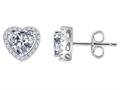 Original Star K™ Heart Shape Genuine White Topaz Halo Earring Studs