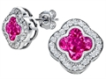 Original Star K™ Clover Earrings Studs with 8mm Clover Cut Created Pink Sapphire