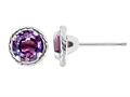 Tommaso Design ™ Round Simulated Alexandrite Halo Earrings Studs