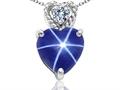 Tommaso Design™ 8mm Heart Shape Created Star Sapphire and Diamond Pendant