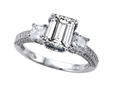 Original Star K™ 8x6mm Emerald Cut White Topaz Engagement Ring