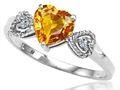 Tommaso Design™ Genuine Citrine and Diamond Heart Shape Engagement Promise Ring
