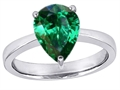 Original Star K™ Large 11x8mm Pear Shape Solitaire Engagement Ring with Simulated Emerald