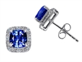Tommaso Design™ Cushion Cut Created Sapphire and Diamond Earrings Studs