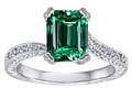 Original Star K™ Emerald Cut Simulated Emerald Solitaire Engagement Ring
