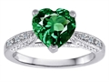 Original Star K™ Heart Shape Simulated Emerald Solitaire Ring